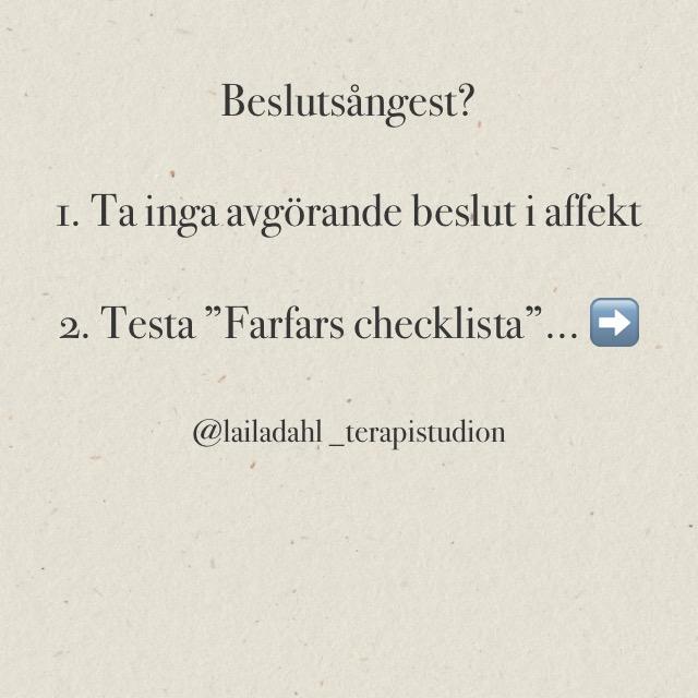 Beslutsångest? Testa Farfars Checklista!